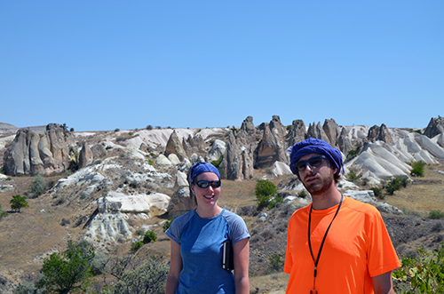 Kalijn and Alexis, enjoying some Cappadocia volcanics